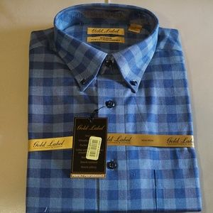 Gold Label Blue Checkered Long Sleeve Shirt